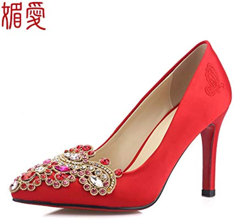 HOESCZS HOESCZS Damenschuhe Spitz Strass  nesische Hochzeit Schuhe Weibliche Rote Wasserdichte Plattform Braut Hochhackige Niedrige Spitzenschuhe Zeigen Wo Einzelne Schuhe Stiletto Brautjungfer Schuhe  am meisten bevorzugt