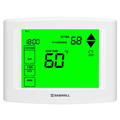 7 Days Programmable Touch Screen Thermostat for Home, with Large Digital Display, Easy to Read , Dual Powered,3 Heat 2 Cool,Saswell SAS6000UTK-7.