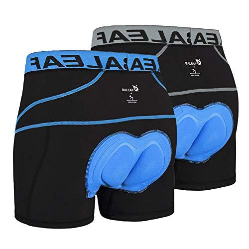 BALEAF Men's Bike Cycling Underwear Shorts 3D Padded Bicycle MTB Liner Shorts 2 Pack (Blue+Grey, M)