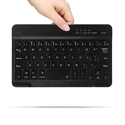 Draadloos Bluetooth-toetsenbord voor iOS (Apple IPad Mini 4, IPad Mini 1/2/3) Functietoetsen voor iOS, 7 Inch Zwart Ultrathin Draadloos Bluetooth-toetsenbord Zwarte kleur