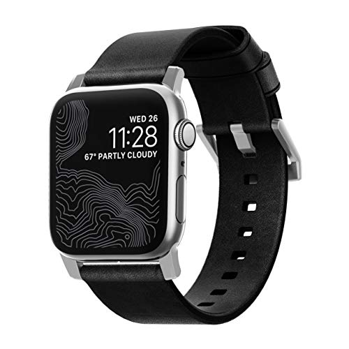 Nomad Modern Strap for Apple Watch 44mm/42mm | Black Horween Leather | Silver Hardware