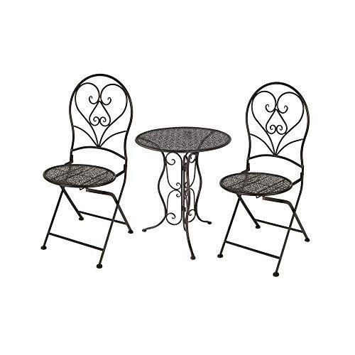 MC Gartentisch Rund mit 2 Stühlen Metall Braun Set