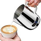 Jarra de leche espumoso con termómetro de 600 ml, jarra de café de acero inoxidable, taza de leche de cocina para el hogar (600 ml)