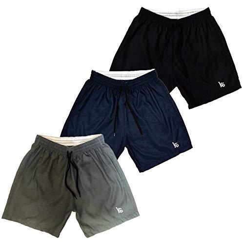 Kit 3 Shorts Masculino Esporte Academia Microfibra Com Bolsos Laterais E Bordado KIT-402 COR:PRETO;Tamanho:M