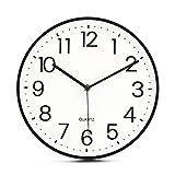 Tebery Orologio da Parete da 28 cm (11'), Senza ticchettio, Moderno, Silenzioso, Grande quadrante Nero