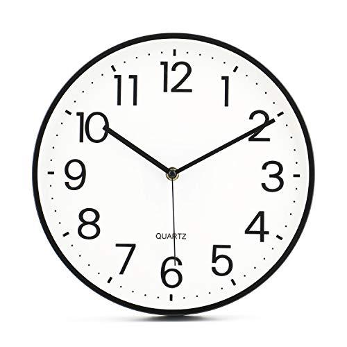 Tebery - Reloj de pared sin tictac, 28 cm, moderno, silencioso, esfera grande, color negro