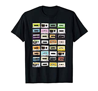 Cassette Tapes Mixtapes 1980s Radio Music Graphic Print T-Shirt