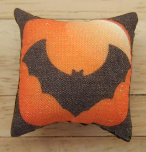 1/12. Skala Puppen Haus Halloween Kissen: Fledermaus-Design in schwarz und Orange
