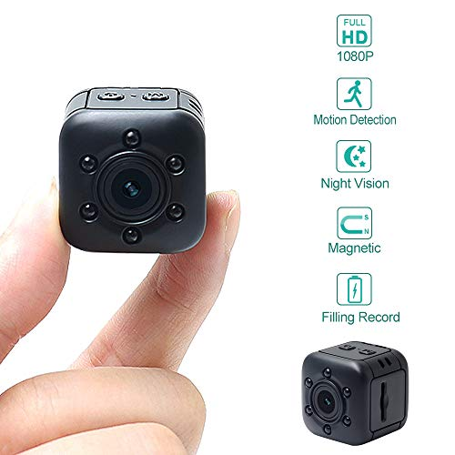 Mini Kamera LXMIMI 1080P HD Tragbare Kleine Überwachungskamera mit Bewegungserkennung und Infrarot Nachtsicht Eingebauter Magnet Mini DVR für Haustier/Baby/Zuhause/Auto/Drohne/Draussen