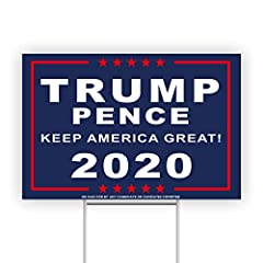"""Donald Trump Mike Pence, Presidential Yard Sign Size: 18 inches in length x 12 inches in height. Made in the USA! Metal Wire: 6"""" x 17"""" Stake Stand included. No tools needed! 9-Gauge Galvanized Steel Rod Use: Indoor OR Outdoor use - Waterproof and Win..."""