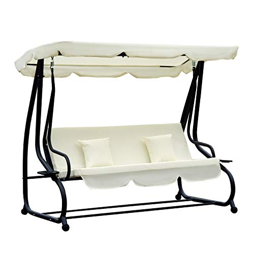 Outsunny 2-in-1 Patio Swing Chair 3 Seater Hammock Bench Bed Tilt Canopy Garden Lounger with 2 Cushions - Cream White