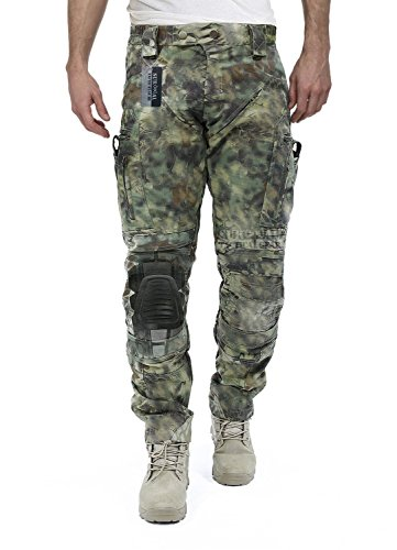 Survival Tactical Gear Men's Airsoft Wargame Tactical Pants with Knee Protection System & Air Circulation System (Mandrake Camo, XL)