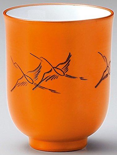 Yamakiikai Tokoname - Tazza da tè Giapponese Yunomi, Colore: Arancione Gru Volante Fy2048 Ly1916