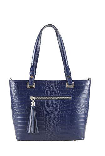 collezione alessandro Große Handtasche Kroko aus Rindsleder mit modischen Details 30cm x 27cm x 11cm