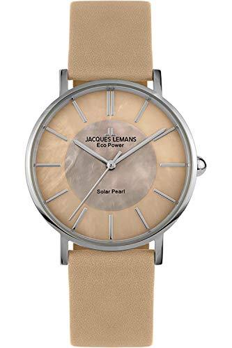 Jacques Lemans Damen Analog Quarz Uhr mit Leder Armband 1-2112D