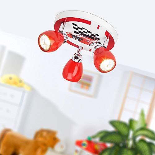 Lámpara de techo LED para carreras, Ø 31 cm, 3x 2.5W GU10 LED incl., 3x 220 Lumen, 3000K blanco cálido, metal, rojo/blanco-negro
