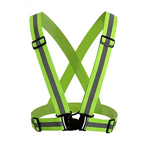 Hunpta@ Warnwesten, Sichtbarkeit Neon Vest Reflective Belt Sicherheitsweste ,Warnweste Neon Gelb Knitterfrei,360 Grad Reflektierende Sicherheitsweste (Grün)