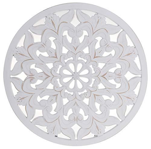 Meinposten. Wandornament Holz weiß 48 cm rund Shabby Landhaus Ornament Holzornament Holzbild Wandbild