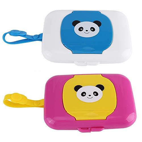GOODGDN 2pcs Cajita para toallitas portátil Caja de Almacenamiento para Viajes al Aire Libre(Panda)