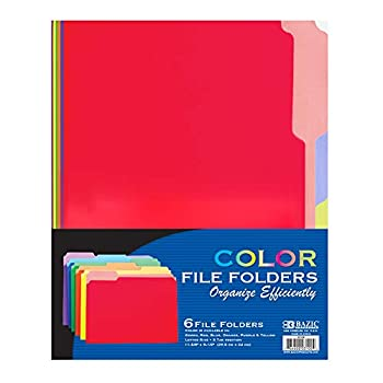 BAZIC 1/3 Cut Letter Size Manila File Assorted Color Folder Tabs Left Right Center Positions Holders Easy Organize Storage Files Document Office Home Teacher Business  6/Pack  1-Pack