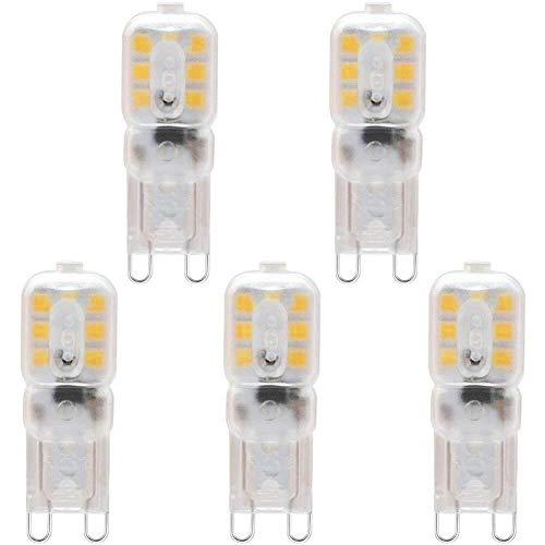 KDP Ampoule LED, Culot G9-3W / 300LM (Equivalent 33W Ampoules halogènes/Incandescente) Blanc Chaud 3000k, 220-240V, 360° angle de faisceau, Pack de 5