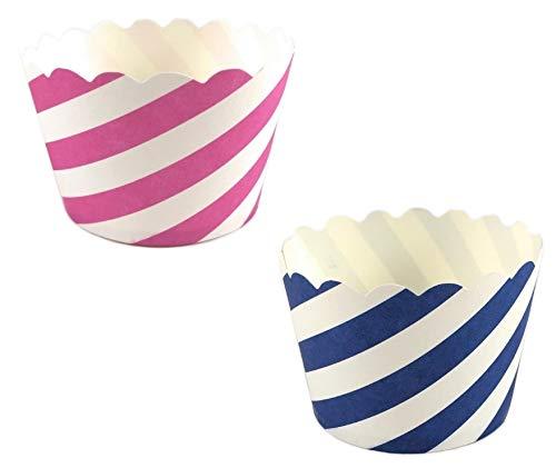 50 Pappförmchen für Muffin, Cupcake, EIS, Dessert – 2 Designs a 25 Stück mit pinken und blauen Streifen