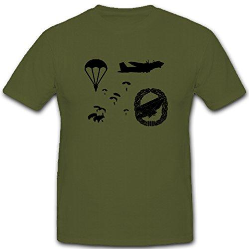 FschJg Fallschirmjäger Fallschirmspringer Fallschirm Springer Bundeswehr BW Heer Abzeichen - T Shirt #4760, Farbe:Oliv, Größe:Herren XL
