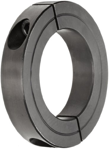 "Climax Metal H2C-375 Recessed Screw Clamping Collar, Two Piece, Black Oxide Plating, Steel, 3 3/4"" Bore Size, 5"" OD, With 3/8-24 x 1 1/4 Set Screw"