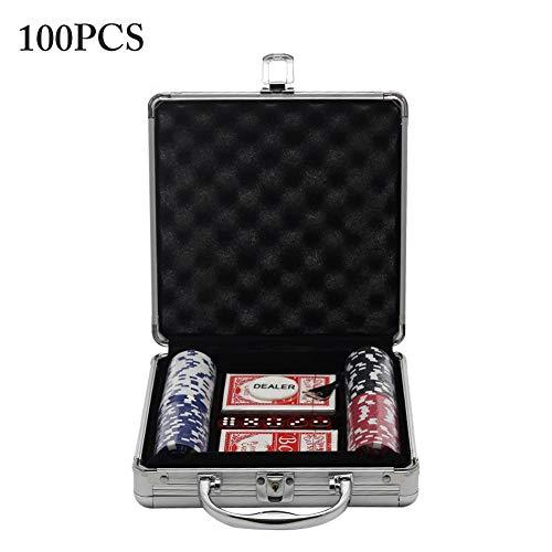 Pokerkoffer Pokerset 100/200/300PCS Chips Pokerchips Poker 11.5 Gramm, 2X Pokerdecks, Alu Pokerkoffer, 5X Würfel, Koffer