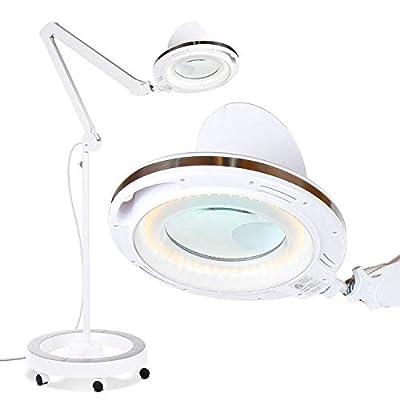 LightView Pro LED Magnifying Glass Floor Lamp - 6 Wheel Rolling Base - White