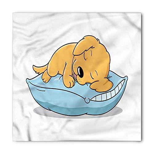 Golden Retriever Bandana, Leuke Puppy Slapen op een Kussen in Cartoon Stijl voor Kinderen, Bedrukte Unisex Bandana Hoofd en hals Tie Sjaal Hoofdband, 18 X 18 Inch, Bleke Oranje en Baby Blauw