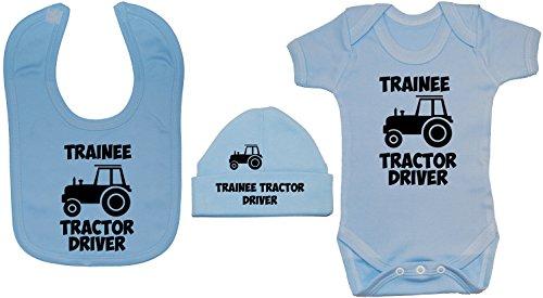 Acce Products Traktor Driver Baby Body / Strampler, Fütterungslätzchen & Beanie-Mütze, 0 bis 12 Monate Gr. 3-6 Monate, blau