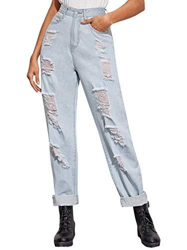 SweatyRocks Women's Ripped Boyfriend Jeans Distressed Denim Ankle Length Jeans Blue S