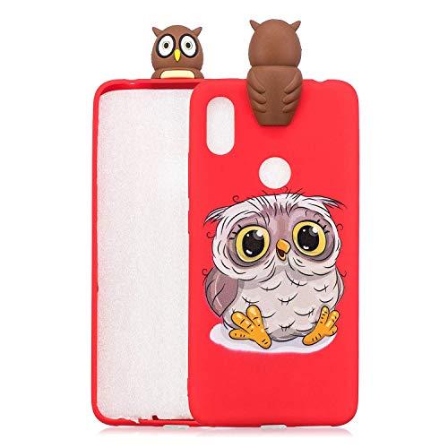 LAXIN Cute owl Case for Xiaomi Redmi S2 / Redmi Y2,Soft 3D Silicone Case,Cute Fruit Rubber Cover,Cool Kawaii Cartoon Gel Cover for Kids Girls Boys Men Woman Fun Soft Silicone Shell