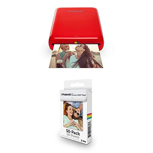 Polaroid ZIP Handydrucker mit ZINK Zero tintenfreier Drucktechnologie Rot 2x3 Zoll Premium ZINK Fotopapier 50 Blatt Kompatibel mit Polaroid Snap Z2300 SocialMatic Sofortbildkameras