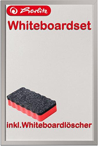 Herlitz 10524627 Whiteboard und Magnettafel, 40 x 60cm / Kombi-Set (+ Löscher, rot)