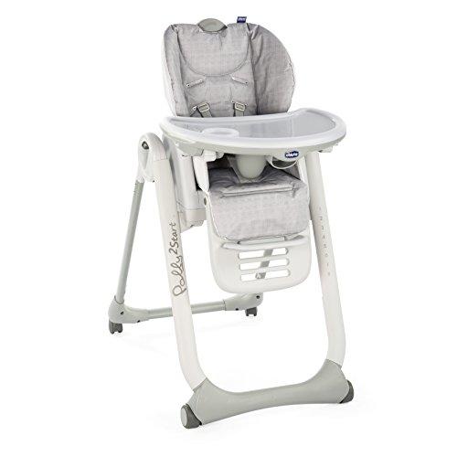 Chicco Polly2Start Baby Hochstuhl ab Geburt bis 3 Jahre (15 kg), Verstellbarer Kinderhochstuhl mit 4 Rädern, Liegefunktion und Kompakte Schließung