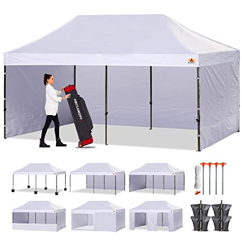 ABCCANOPY Classic Ez Pop up Canopy Tent with Sidewalls 10x20 Market and Patio-Series, White