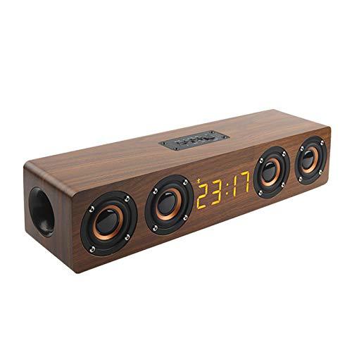 Altavoz Bluetooth con Reloj, Barra De Sonido De Altavoz BT De Madera con Pantalla Digital LED, Admite Entrada De Audio De 3,5 mm/Reproducción De Tarjeta De Memoria,Marrón