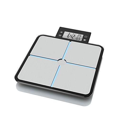 Medisana BS 460 báscula analítica digital 180 kg, báscula personal para medir la grasa corporal, el agua corporal, la masa muscular, el peso de los huesos y la grasa corporal con pantalla LCD