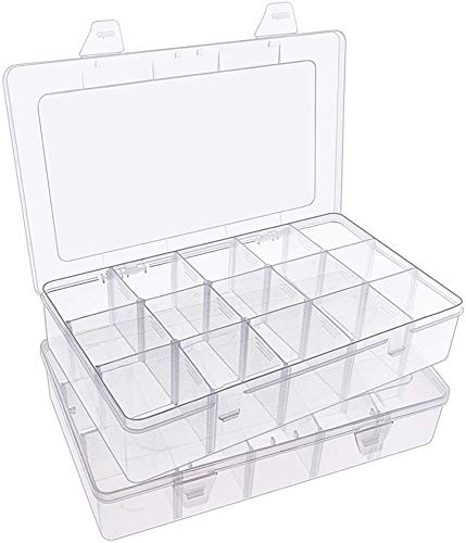 SGHUO 2 Pack 15 Large Compartments Storage Box for Washi Tape, Clear Plastic Oeganizer Case for Jewelry Art DIY Crafts and Tackle, 15 Girds Container with Dividers