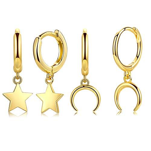 CERSLIMO Pendientes de aro para mujer con pequeño colgante de luna y estrella para mujeres y niñas, oro de 10 quilates chapado en oro