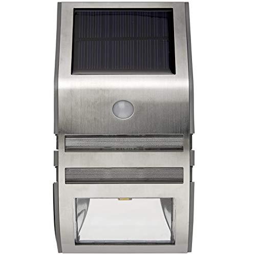 Smart Planet® hoogwaardige led-wandlamp op zonne-energie, zilver, roestvrij staal, ca. 7,6 x 17 x 4,8 cm – zonnepaneel – voor mooie verlichting voor buiten.