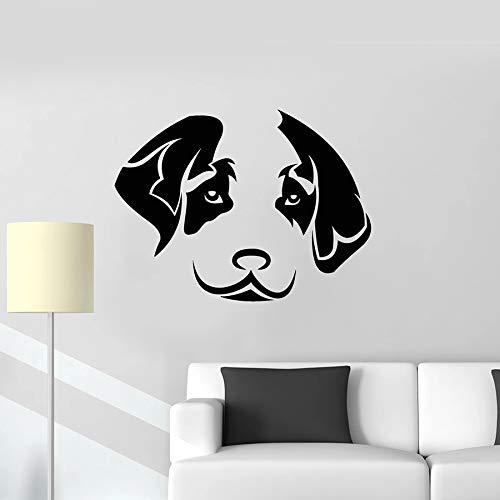 Tianpengyuanshuai Cabeza de Perro calcomanía de Pared decoración de Cachorro Tienda de Mascotas Etiqueta de Vinilo patrón Lindo Dormitorio Sala de Estar decoración del hogar 67X106cm