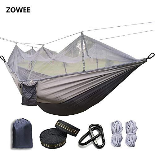 Bureze Hamac en toile de parachute ultralégère avec moustiquaire pour tente de camping en plein air