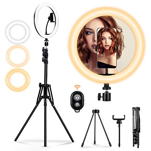 MOHOO 10'Luce ad Anello LED 3 Modalità 10 Livelli di Luminosità Ring Light con Telecomando Due Treppiedi Regolabile per Cellulare e Fotocamera Youtube Selfie Video Makeup 3000-6000k Massimo 1800 lumen