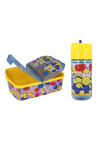 Minions Lunch-Set Premium Brotdose + Tritan-Trinkflasche mit Namenssticker der Yuhu Bande
