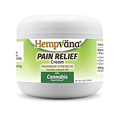 Hempvana Pain Relief Cream with Cannabis Seed Extract - Relieves Inflammation, Muscle, Joint, Back, Knee, Nerves and Arthritis Pain – Made in USA 4oz Paraben Free, Vegan, Cruelty-Free As Seen On TV by Hempvana