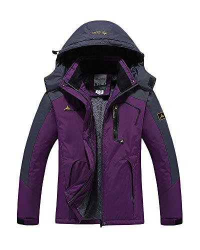 Yonglan Herren/Damen Softshell Jacke Funktionsjacke Übergangsjacke Mit Abnehmbarer Kapuze Und Fleece-Futter Violett F L