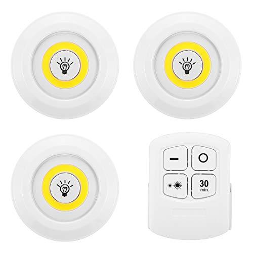 3 piezas de 150LM 3W LED lámpara inalámbrica control remoto táctil luz nocturna RC dormitorio detección luz nocturna para cocina baño